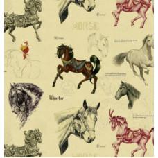 "Бумага 1*70 Дизайнерская бумага ""Лошадки"" 78г/м2 10шт"