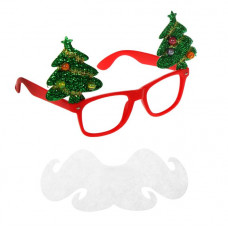 """Карнавальные очки """"Дед Мороз"""" с ёлочками и бородой"""