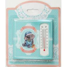 """Термометр декоративный 10*10см """"Слонёнок"""" жидкостный бытовой в корпусе из керамики"""