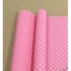 """Бумага матовая 70см*10м±10см """"Горох"""" белый на розовом"""
