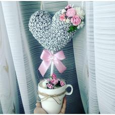 """Кофейное дерево """"Сердце"""" белый/розовый 32см"""