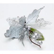 Новогоднее подвесное украшение Пуансеттия Голубая на клипсе 8x18