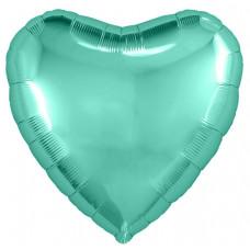 Шар (18''/46 см) Сердце, Бирюзовый, 1 шт. Agura