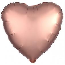 Шар (18''/46 см) Сердце, Розовое Золото, Сатин, 1 шт. Agura