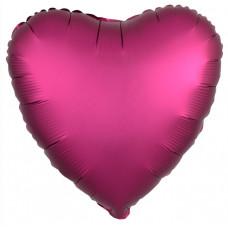 Шар (18''/46 см) Сердце, Гранатовый, Сатин, 1 шт. Agura