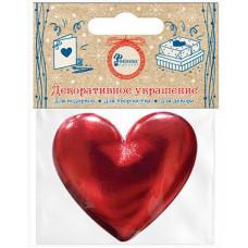 Декоративное украшение Сердце, Красный, Металлик, 5,5*5,9 см, 1 шт.