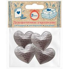 Декоративное украшение Сердце, Серебро, Металлик, 3,5*3,1 см, 4 шт.