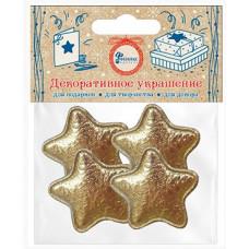 Декоративное украшение Звезда, Золото, Металлик, 3,3*3,3 см, 4 шт.