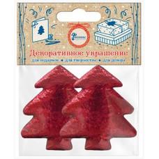 Декоративное украшение Фигура, Елочка, Красный, Металлик, 4,5*4,7 см, 2 шт.