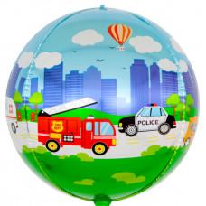 Шар (24''/61 см) Сфера 3D, Транспорт, 1 шт. Falali