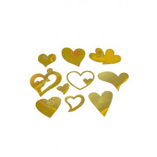 Аксессуар для декора набор из 9 сердец голограф. золотых d3.5-d13.5см