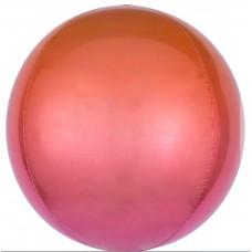 Шар (22''/56 см) Сфера 3D, Красный/Фуше, Градиент, 1 шт. Falali