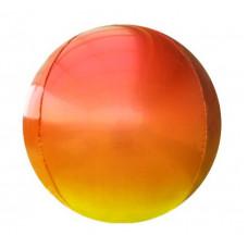 Шар (22''/56 см) Сфера 3D, Красный/Желтый, Градиент, 1 шт. Falali