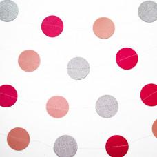 Гирлянда-подвеска Круг, Розовый микс, 200 см, 1 шт.