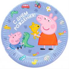Тарелки (9''/23 см) Свинка Пеппа, С Днем Рождения!, Голубой, 6 шт.