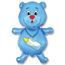 Шар (37''/94 см) Фигура, Медвежонок-мальчик, Синий, 1 шт. Flexmetal
