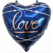 Шар (22''/56 см) Сердце, Любовь (кинематика звезд), Синий, 1 шт. Falali
