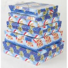 """Набор коробок 4 в 1 прямоугольник """"Новогодние мишки"""" 15*11*7 - 9*5*4см"""