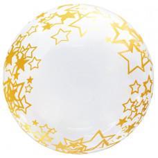 Шар (18''/46 см) Сфера 3D, Deco Bubble, Золотые звезды, Прозрачный, 1 шт. Falali