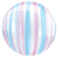 Шар (18''/46 см) Сфера 3D, Deco Bubble, Полоски, Прозрачный, Кристалл, 1 шт. в упак. Falali