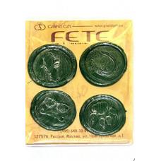 """Сургуч 04/06-45 набор из 4 печатей """"Мужские страсти, зелёный"""" d4см"""