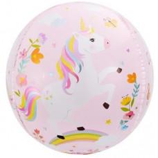 Шар (24''/61 см) Сфера 3D, С Днем Рождения (волшебные единороги), Розовый, 1 шт. Falali