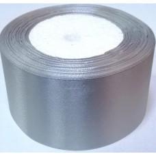 Лента атласная 4см*25ярд серебро