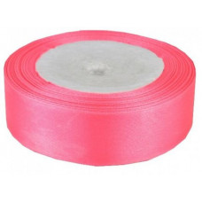 Лента атласная 4см*25ярд неоново/розовый