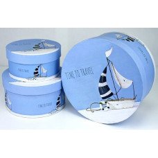 Набор коробок, Цилиндр, Морское путешествие, Голубой, 21*21*11 см, 3 шт.