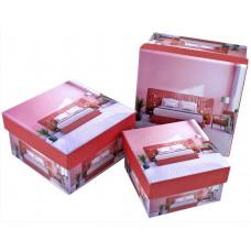 Набор коробок Интерьер, Красный, 13*13*8 см, 3 шт.