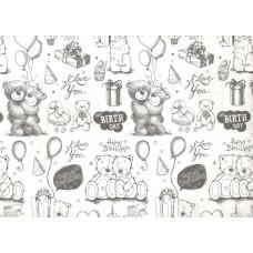 Упаковочная бумага, Крафт 50гр (0,7*10 м) С Днем Рождения! (медвежата), Белый, 1 шт.