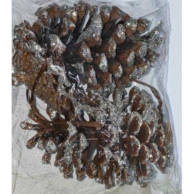 Шишка кедровая, серебро 11*9, упаковка 2 шт