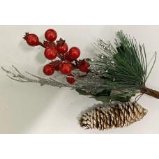 Ветка с еловой шишкой и ягодами серебро 29*13