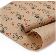 Упаковочная бумага, Крафт 40гр (0,6*10 м) Велосипед и сердечки, Красный, 1 шт.