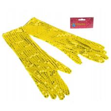 Карнавальные перчатки желтые блеск