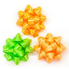 Бант Звезда, Оранжевый коралл/Салатовый, 7 см, 12 шт.