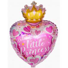 """Шар фольгированный 19''/48см Сердце С Днем Рождения """"Маленькая Принцесса"""" розовый CTI"""