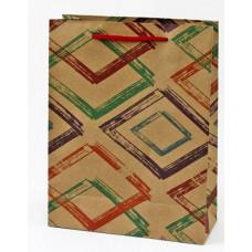 Пакет подарочный, Ромбы, Крафт, 24*33*8 см, 1 шт.