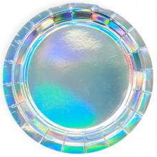 Тарелки (9''/23 см) Перламутровый блеск, Серебро, Голография, 6 шт.