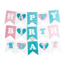 Гирлянда Флажки, Happy Birthday (орнамент Виши и сердечки), Голубой/Розовый, 200 см, 1 шт.