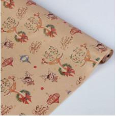 Упаковочная бумага, Крафт (0,7*10 м) Праздничные олени, 1 шт.