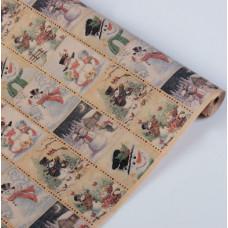 Упаковочная бумага, Крафт (0,7*10 м) Снеговики, 1 шт.