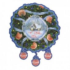 Новогоднее оконное украшение Новогодний венок из картона 30x37см 75156