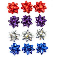 Бант Звезда, Праздничный микс, Ассорти, Металлик, 5 см, 25 шт.