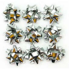 Бант Звезда, Серебро, Металлик, 4 см, 10 шт.
