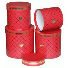 Коробка, Цилиндр, Золотое сердце, Красный, 17*17 см, 1 шт.