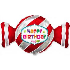Шар (36''/91 см) Фигура, Конфета, С Днем Рождения, Красный, 1 шт. Flexmetal