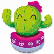 Шар (36''/91 см) Фигура, Счастливый кактус, Розовый, 1 шт. Flexmetal