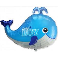 Шар (34''/86 см) Фигура, Маленький кит для мальчика, Голубой, 1 шт. Flexmetal