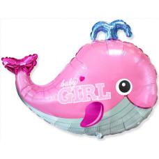 Шар (34''/86 см) Фигура, Маленький кит для девочки, Розовый, 1 шт. Flexmetal